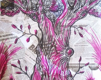 The magical tree - collage and inks
