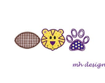 Tiger football embroidery design 5x7, Applique Design, Pawprint applique, Vintage stitch embroidery, Football embroidery file