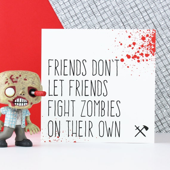 Zombie friendship card funny friend card zombie birthday like this item bookmarktalkfo Choice Image