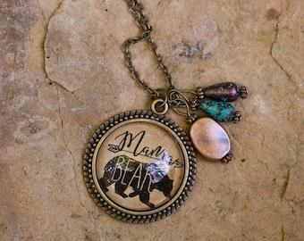 "Vintage, Bronze, ""Mama Bear,"" necklace"