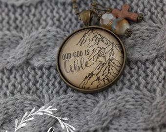 """Vintage inspired, """"Our God is Able,"""" necklace"""