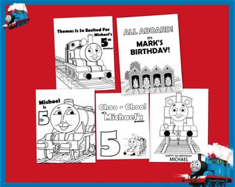 Thomas The Train Personalized Coloring - Printable Download - Favors Gifts or Decorations for Parties - Birthdays and All Occasions