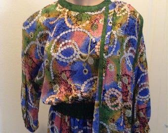 Vintage Diane Freis Silk Dress Boho Gypsy Abstract Scarf