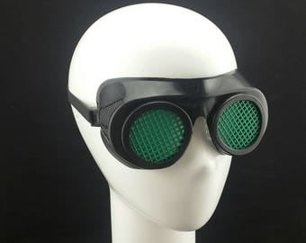 Cyber Rubber Goggles with Green Lenses minion goggle cyberpunk aviator sunglasses cosplay glasses cyber goggles goggles punk goggles