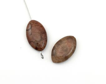 2 fossil coral stone beads, 12mm x 20mm  #PP039