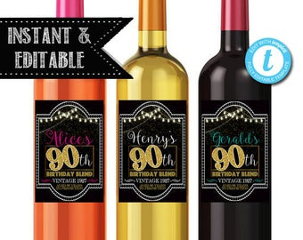 EDITABLE 90th Birthday Custom Wine Labels, Cheers to 90 Years, 90th Birthday Gift, 90th Party, Vintage Aged to Perfection 90th Printable