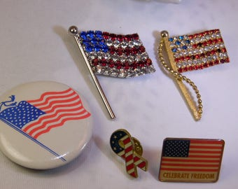 Vintage American Flag Brooch / Pin Lot Collection