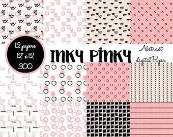 ON SALE Digital Scrapbook Paper, Pink and Black, Abstract, Digital Paper, Scrapbook Paper, Digital Paper Pack,