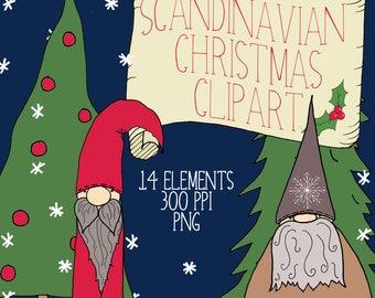 Scandinavian Christmas Clipart, Christmas Gnomes, Nordic, Christmas Clipart, Hand Drawn Christmas Clipart, DIY Invitation, DIY Card
