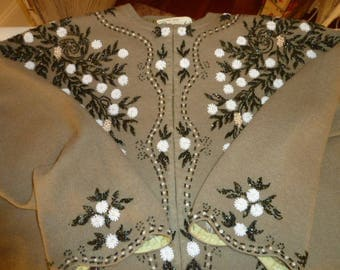 Vintage 1950's Olive Green Floral Glass beaded Sweater Cardigan