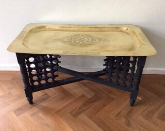 Delightful Vintage Brass Coffee Table Moroccan Folding Leg Mid Century Folding Brass  Morocco Style Unusual Rectangular Table