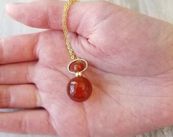 Essential Oil Diffuser Bottle Necklace Carnelian, Perfume Necklace, Bottle Pendant, Orange Stone Pendant, Sacral Chakra Necklace