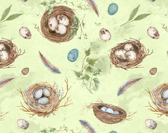 Half Yard Nature Study Green w/ Bird Nest Fabric Quilting Cotton