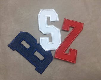 2 INCH UPPER CASE Letter - Varsity College Font, Choose A-Z, Solid or Print Fabric, Choose Thread, Iron On Applique Patch, Style 23 Patch