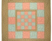 """Shabby Cottage Chic Baby Quilt, Vintage Look Baby Girl Quilted Blanket, Pink Blue Beige Floral Crib Quilt, 33""""x33"""", Quiltsy Handmade"""
