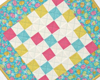 "Easter Quilted Table Topper, Easter Egg Table Mat, Spring Table Mat, Reversible Table Topper, 23""x23"", Quiltsy Handmade"