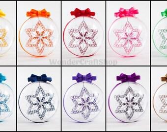 Snowflake set of 10, custom christmas snowflakes, rainbow colors, 3d Christmas Ornaments, Winter Holiday Decor, Handmade Ornaments