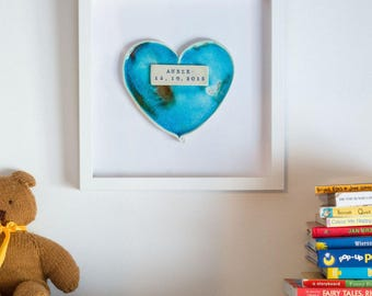 framed PERSONALISED CERAMIC HEART neborn baby, wedding gift by The Mood Designs