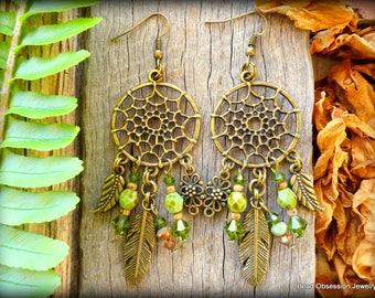Boho Earrings; Dream Catcher Earrings; Earthy Hippie Earrings; Chandelier Earrings; Bohemian Earrings; Feather Earrings; Australian Seller