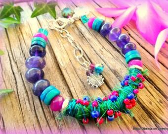 Boho Bracelet; Amethyst Bracelet; Sari Silk Bracelet; Hippie Bracelet; Bohemian Bracelet; Festival Jewelry; Bead Bracelet; Australian Seller