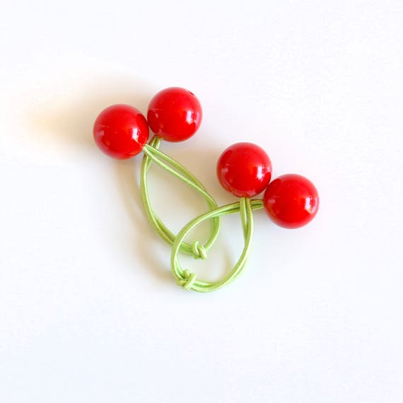 CHERRIES. Bobble Hair ties. Elastic hair ties. Red Cherries hair bobbles. Retro style hair bobbles.