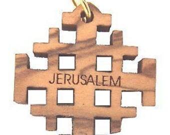 """Olive wood Jerusalem Cross Laser Pendant (6cm or 2.36"""" long )"""
