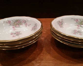 Johann Haviland Chippendale wild rose china berry bowls set of 8