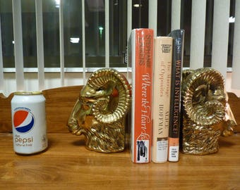 Vintage Wildwood Accents Rams Head Brass Bookends -- Heavy and Large --