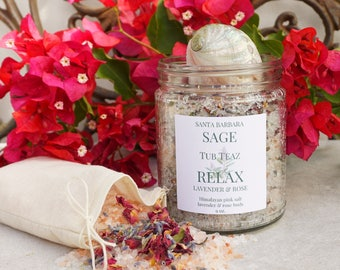 RELAX Lavender Rose & Grapefruit Tub Teaz by Santa Barbara Aromatics | Himalayan Salt |Detox Salt Soak | Tub Tea | Gift For Women