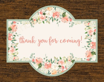 Floral Favor Tag Thank You for Coming Wedding Cinfirmation Baptism White Hydrangea Roses Peach and Cream