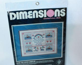 Dimensions Counted cross stitch Kit #3621 Bless This House Sampler Vintage 1986 Sealed Designed by Karen Avery