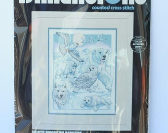 """Dimensions North American Beauties counted cross stitch kit 3758 Repackaged 11"""" x 14"""" Vintage 1994"""