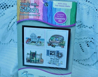 Janlynn counted cross stitch kit #999-2016 Four Season Chairs New Sealed Made in the USA