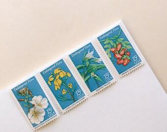 Endangered Flora    Vintage Stamp Set    5 Letter Set