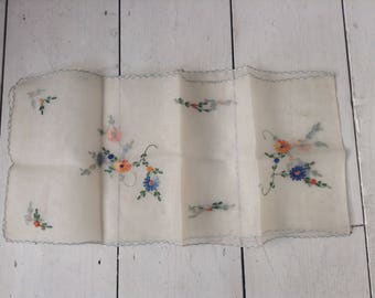 Vintage Sheer Embroidered Table Runner