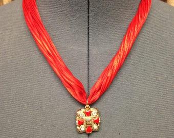 Shibori red silk necklace with authentic designer button , handmade