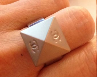 designer button ring, silver tone, size 7, handcraft