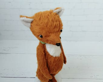Teddy Fox - german viscose, Red fox, artist teddy,Fox toy, little Fox, ooak toy cute fox, OOAK Fox teddy, fabric art toy , collectible teddy