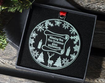 Missing You This Christmas Bauble, Personalised Acrylic Tree Decoration, Christmas Gift