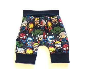 Heroes Shortiloones  (no bum circle)- 1 to 3 years,  ~ Ready to Ship, cloth diaper pants, baby, toddler clothes