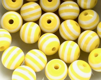 Yellow and white candy stripe beads - Kitsch beads - Yellow beads - Acrylic beads - UK beads - Jewellery making - UK seller - DIY jewellery