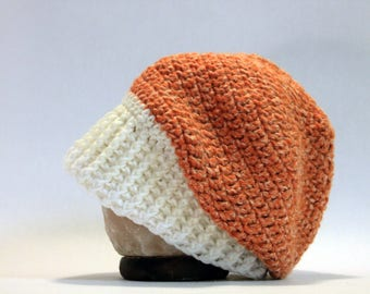 Hand Crocheted Slouch Beanie - Orange
