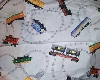 Lionel Train Fabric on Gray