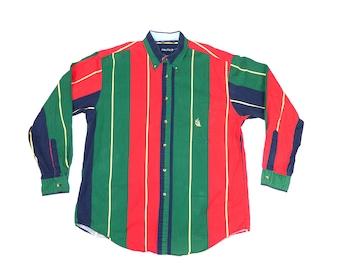 Vintage Nautical Button-Up Shirt.