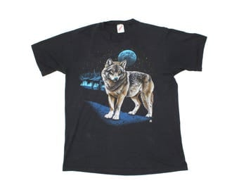 Vintage 1980s Blue Moon Wolf T-shirt