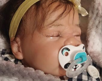 Reborn baby doll girl or boy, custom handpainted soft silicone vinyl, micro rooted natural hand dyed mohair, eye lashes,