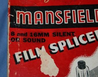 Mansfield Junior Film Splicer 8mm 16mm w/ 2 Reels Silent or Sound Movie Vtg