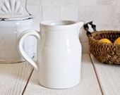 Vintage French DIGOIN White Ironstone Water Pitcher || Shabby Chic Ceramic
