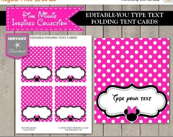 SALE INSTANT DOWNLOAD Editable Hot Pink Mouse Printable Tent Cards / Place Cards / You Type / Hot Pink Mouse Collection / Item #1722