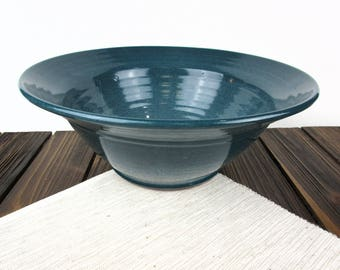 Handmade teal green pottery bowl ceramic bowl, pottery serving bowl, mixing bowl